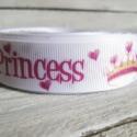 Apuci hercegnője Princess mintás Grosgrain szalag - 22mm, Textil, Szalag, pánt, Egyoldalas nyomott grosgrain szalag.   Méret: 22mm széles   Csomagoláshoz, ajándékokra, képesl..., Alkotók boltja