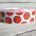 Csillogó kosárlabda mintás Grosgrain szalag - 22mm, Textil, Szalag, pánt, Egyoldalas nyomott grosgrain szalag.   Méret: 22mm széles   Csomagoláshoz, ajándékokra, képesl..., Alkotók boltja