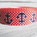 Horgony tengerész mintás Grosgrain szalag - 22mm, Textil, Szalag, pánt, Egyoldalas nyomott grosgrain szalag.   Méret: 22mm széles   Csomagoláshoz, ajándékokra, képesl..., Alkotók boltja