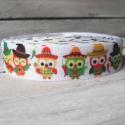 Mexikói bagoly paprika mintás Grosgrain szalag - 22mm, Textil, Szalag, pánt, Egyoldalas nyomott grosgrain szalag.   Méret: 22mm széles   Csomagoláshoz, ajándékokra, képesl..., Alkotók boltja