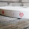 Piros szív mintás pamut szalag - 15mm, Textil, Szalag, pánt, Egyoldalas nyomott pamutszalag.   Méret: 15mm széles   Csomagoláshoz, ajándékokra, képeslapokr..., Alkotók boltja