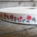Vintage virág mintás pamut szalag - 15mm, Textil, Szalag, pánt, Egyoldalas nyomott pamutszalag.   Méret: 15mm széles   Csomagoláshoz, ajándékokra, képeslapokr..., Alkotók boltja