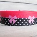Pink fekete masni mintás pöttyös Grosgrain szalag - 22mm, Textil, Szalag, pánt, Egyoldalas nyomott grosgrain szalag.   Méret: 22mm széles   Csomagoláshoz, ajándékokra, képesl..., Alkotók boltja