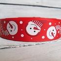 Piros hóemberes karácsonyi Grosgrain szalag - 25mm, Textil, Szalag, pánt, Egyoldalas nyomott grosgrain szalag.   Méret: 25mm széles   Csomagoláshoz, ajándékokra, képeslapokra..., Alkotók boltja