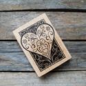 Gyönyörű nagy vintage Szív mintás fa nyomda, Papír, Scrapbook, Papírművészet, Szív mintás nyomda  Gyönyörű cirádás mintával  Nyomda mintájának mérete: 6,5 x 5cm   Ajánlom levélr..., Alkotók boltja