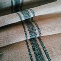Antik organikus zöld csíkos kender zsákvászon méterre (gr007), Textil, Vászon, Varrás, Textil, Természetes alapú kender zsákvászon (GR007)  Több mint 100 éves anyag. Szélessége: 58cm Kiváló tásk..., Alkotók boltja