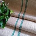 Antik organikus zöld csíkos kender zsákvászon méterre (gr006), Textil, Vászon, Varrás, Textil, Természetes alapú kender zsákvászon (GR006)  Több mint 100 éves anyag. Szélessége: 52cm Kiváló tásk..., Alkotók boltja