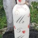 Mr és Mrs - esküvői italos üveg. :-), Esküvő, Nászajándék, Decoupage, transzfer és szalvétatechnika, Pamutzsinórral tekert üveg, esküvői kínálónak vagy nászajándéknak. :-) Kérheted bármilyen mintával,..., Meska