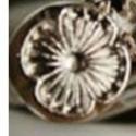 Virág bőrnyomó, bőrbeütő,vaknyomó, Szerszámok, eszközök, bőrnyomó, bőrbeütő,vaknyomó fém ötvözetből kb 11m átmérőjű ( a legszélesebb ponton), Alkotók boltja