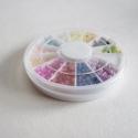 Akryl félgyöngy/strassz 12 színben, dobozzal!, 12 különféle színű, félbevágott gyöngyre h...
