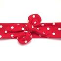 a830806b5e Piros - fehér pöttyös masnis (csomózott) pamut jersey fejpánt / hajpánt,  Baba-