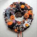 Halloween kopogtató , Otthon & lakás, Lakberendezés, Ajtódísz, kopogtató, Dekoráció, Virágkötés, Mindenmás, Narancssárga-fekete-lila színekben készült félelmetes:) ajtó- vagy falidísz Halloweenre. Fekete any..., Meska