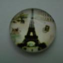 Eiffel tower cabochon, Gyöngy, ékszerkellék, Cabochon, Ékszerkészítés, Kerek,üveg, 14  mm-es caboshon ékszerkészítéshez, dekorációhoz, kreatíviskodáshoz. Az ár 1 darab te..., Alkotók boltja