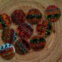 10 db-os, 15 mm-es, afrikai gomb csomag, Dekorációs kellékek, Gomb, 10 db-os, 15 mm-es, Afrika mintás, kagyló gombcsomag  díszítéshez, scrapbookhoz, bármilyen kreatívos..., Alkotók boltja