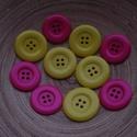 10 db-os, műanyag gombcsomag, Dekorációs kellékek, Gomb, 10 db-os, 38 (sárga)-35(pink) mm-es, 2 lyukú,műanyag gomb csomag textilekhez, scrapbookinghoz, dekor..., Alkotók boltja