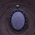 2 db-os, antik ezüst színű medálalap csomag 30x40 mm-es cabochonhoz, Gyöngy, ékszerkellék, 2 db-os, kissé rusztikus hatású, antik ezüst színű, fém medál alap csomag 30x 40 mm-es cabochonhoz. ..., Alkotók boltja