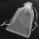 Organza ajándék tasak, Csomagolóanyag, Doboz, henger, Gyurma, Levegőn száradó gyurma, Fehér organza tasak.  Ékszer, egyéb ajándék csomagolására kiváló, vagy esküvői asztalon is mutatós ..., Alkotók boltja