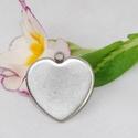 Nemesacél szív alakú medál alap (23x25 mm), Gyöngy, ékszerkellék, Egyéb alkatrész, Ékszerkészítés, Szerelékek, Nemesacél szív alakú medál alap karikával.  Belső átmérő: - keresztben a legszélesebb ponton: 25mm ..., Alkotók boltja