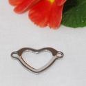 Nemesacél összekötő elem, szív alakú, Gyöngy, ékszerkellék, Egyéb alkatrész, Szív alakú nemesacél összekötő elem. Méretek: 20,8 x 22,5mm Lemez vastagság: 1,2 mm Lyuk átmérője:  ..., Alkotók boltja