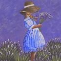 Levendulás Lány - 20x30-as akril festmény , Festék, Akrilfesték, 20x30-as, vakrámára feszített vászonra festett akril festmény, keretezni nem szükséges., Alkotók boltja