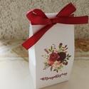 Ültetőkártya helyett köszönőajándék dobozka esküvőre , Esküvő, Meghívó, ültetőkártya, köszönőajándék, Esküvői dekoráció, Papírművészet, Fehér vászonmintázott kartonból készítettem a legújabb esküvői köszönetajándék dobozkámat, mely egy..., Meska