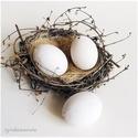 Kerámia tojás darabra, Díszíthető tárgyak, Kerámia, Tojásfestés, Decoupage, szalvétatechnika, Decoupage alap, Kerámia tojás hazai keramikusműhelyből.  Belül üreges, alul és felül egy-egy lyukkal.  Méretei: 6,5..., Alkotók boltja