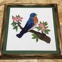 Quilling kép madárral, Papír, Egyéb papír, Famegmunkálás, Papírművészet, Egyéb fa, Quilling technikával készített kép, saját készítésű fa kerettel. 22x22cm, Alkotók boltja