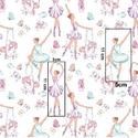 Balettozó leány és unikornis mintás pamut textil - AKCIÓ, Textil, Pamut, Fehér alapon mintás, balettozó leány unikornissal.  Az ár egy 55 X 60 cm-es pamut textil darabr..., Alkotók boltja