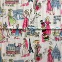 Párizs, divat designer pamut textil, Textil, Pamut, Varrás, Az ár egy 53 X 44 cm-es pamut textil darabra vonatkozik.  Utolsó darab!   Személyes átadás Budapest..., Alkotók boltja
