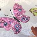 Pillangó mintás pamut textil - színes , Textil, Pamut, Világos szürke alapon színes pillangók, pamut textil. Az ár egy 80 X 60 cm-es pamut textil dara..., Alkotók boltja
