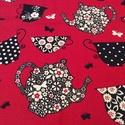 Piros csésze mintás prémium pamut textil, Textil, Pamut, Az ár egy 85 X 49 cm-es,  prémium pamut textil darabra vonatkozik.   Utolsó darab.   Ugyan ilyen,..., Alkotók boltja