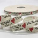 Handmade with Love feliratos textilszalag  , Textil, Szalag, pánt, Varrás, Szalag, Handmade with Love textilszalag -  (Kézzel készült, szeretettel).  Az ár 1 méter szalagra vonatkozi..., Alkotók boltja