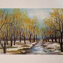 Az első hó, Dekorációs kellékek, Festett tárgyak, festészet, A festmény Séd patak partját ábrázolja az első havazás után. Az ősz és a tél találkozása, az évszak..., Alkotók boltja