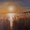 Naplemente Sajkodon, Dekorációs kellékek, Festett tárgyak, festészet, A festmény naplementét ábrázol Sajkodon,  amely Balaton ékszerdoboza. A fény, a víz és a szél borzo..., Alkotók boltja
