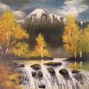 Zúgó az Alpokban, Dekorációs kellékek, Festett tárgyak, festészet, A festmény zúgót, a mögötte húzódó lombhullató és örökzöld erdőt és a hófödte Alpokat ábrázolja. A ..., Alkotók boltja
