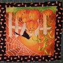 2 db halloween patchwork panel, Textil, Pamut, Varrás, Textil, 2 db különböző halloween mintás patchwork panel Egy darab mérete kb. 20x20 cm. csak a belső keret a..., Alkotók boltja