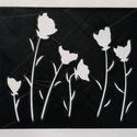 Stencil - minta - Tulipánok, Dekorációs kellékek, Stencil minta - Tulipánok  Mérete: 12 x10 cm   Körülbelül 0,7 mm vastag.   Minimálisan hajlék..., Alkotók boltja
