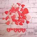 Szív díszítő elemek kreatívoknak, Dekorációs kellékek, Gyurma, Gyurma, Kiégethető gyurma, Süthető gyurmából készítettem rózsaszín, pirosas márvány mintás és piros szíveket. Szárnyalhat a ké..., Alkotók boltja