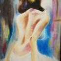 Hajnali vendég, Festék, Olajfesték, 30x50 cm feszített vászonra készült akt, olaj festékkel. , Alkotók boltja