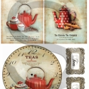 Vintage sorozat: Pöttyös teáskanna kollekció rizspapír, Papír, Decoupage papír, Decoupage, szalvétatechnika, Decoupage minták, A 4-s méretű rizsnyomat, vékony 20 gr-s rizspapíron, découpage technikához. Az eredeti nyomatot víz..., Alkotók boltja