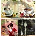 Kávé Párizsban, Papír, Decoupage papír, Decoupage, szalvétatechnika, Decoupage minták, A 4-s méretű rizsnyomat, vékony 20 gr-s rizspapíron, découpage technikához. Az eredeti nyomatot víz..., Alkotók boltja