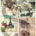 Vintage sorozat:Paris, Papír, Decoupage papír, A 4-s méretű rizsnyomat, vékony 20 gr-s rizspapíron, découpage technikához. Az eredeti nyomato..., Alkotók boltja