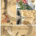 Romantikus utazások sorozat:Paris, Papír, Decoupage papír, A 4-s méretű rizsnyomat, vékony 20 gr-s rizspapíron, découpage technikához. Az eredeti nyomato..., Alkotók boltja