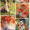 Akvarell sorozat:Pipacsok, Papír, Decoupage papír, A 4-s méretű rizsnyomat, vékony 20 gr-s rizspapíron, découpage technikához. Az eredeti nyomato..., Alkotók boltja