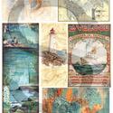 Romantikus utazások sorozat:Tengerre! , Papír, Decoupage papír, A 4-s méretű rizsnyomat, vékony 20 gr-s rizspapíron, découpage technikához. Az eredeti nyomato..., Alkotók boltja