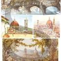 Akvarell sorozat: Firenze, Papír, Decoupage papír, A 4-s méretű rizsnyomat, vékony 20 gr-s rizspapíron, découpage technikához. Az eredeti nyomato..., Alkotók boltja