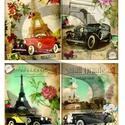 Vintage sorozat: Párizsi autómobilok, Papír, Decoupage papír, Decoupage, szalvétatechnika, Decoupage minták, A 4-s méretű rizsnyomat, vékony 20 gr-s rizspapíron, découpage technikához. Az eredeti nyomatot víz..., Alkotók boltja