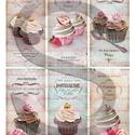 Vintage sorozat: Muffinok, Papír, Decoupage papír, Decoupage, szalvétatechnika, Decoupage minták, A 4-s méretű rizsnyomat, vékony 20 gr-s rizspapíron, découpage technikához. Az eredeti nyomatot víz..., Alkotók boltja