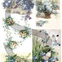 Virág sorozat: Nefelejcs, Papír, Decoupage papír, A 4-s méretű rizsnyomat, vékony 20 gr-s rizspapíron, découpage technikához. Az eredeti nyomatot vízj..., Alkotók boltja