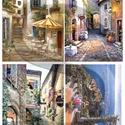 Akvarell sorozat: Provanszi falvak, Papír, Decoupage papír, Decoupage, szalvétatechnika, Decoupage minták, A 4-s méretű rizsnyomat, vékony 20 gr-s rizspapíron, découpage technikához. Az eredeti nyomatot víz..., Alkotók boltja